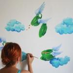 filiżanki, mural, fresk