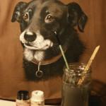 ręcznie malowana torba z psem